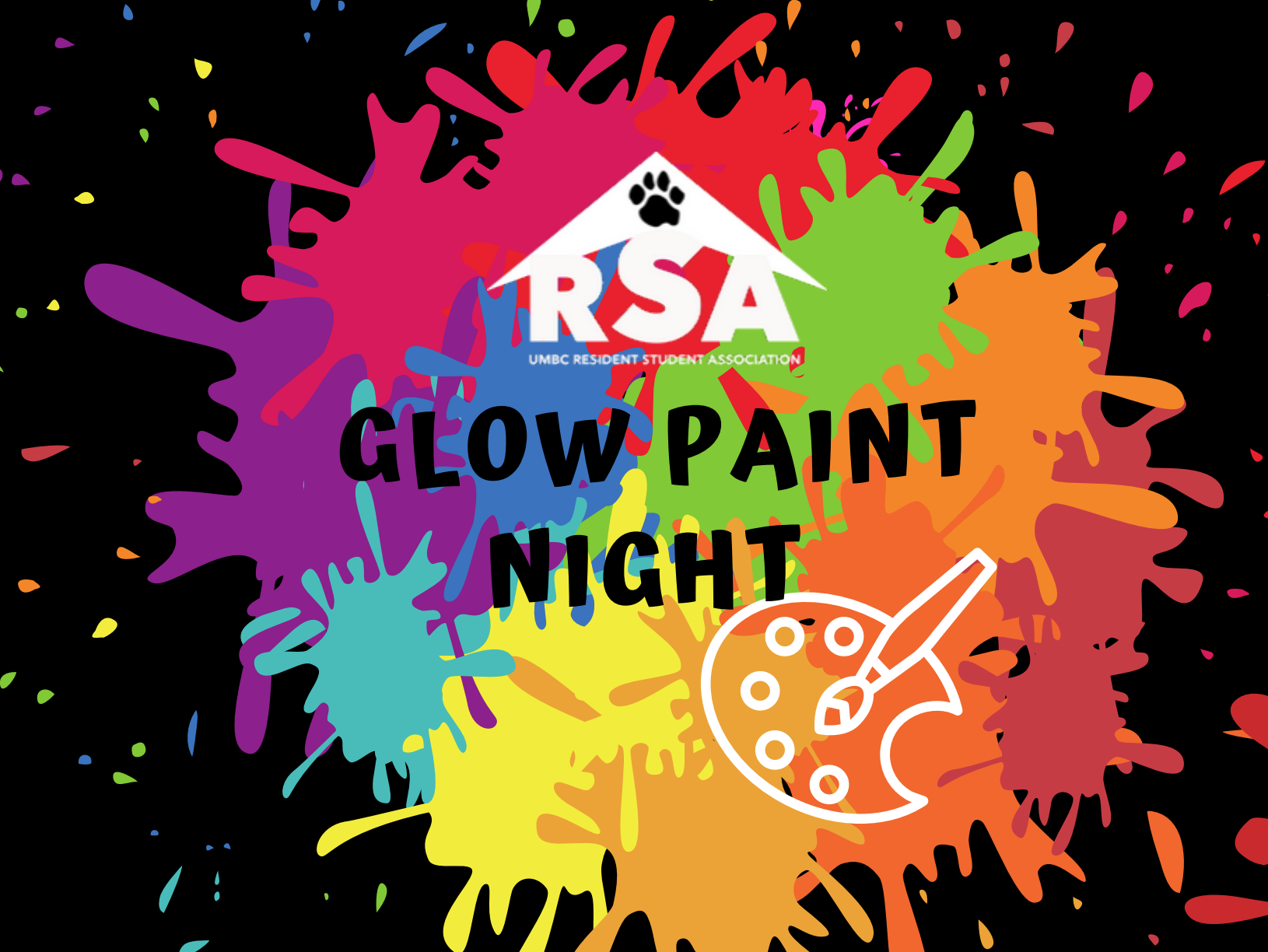 10/26 Glow Paint Night 9:30pm-11:30pm in Dhall!